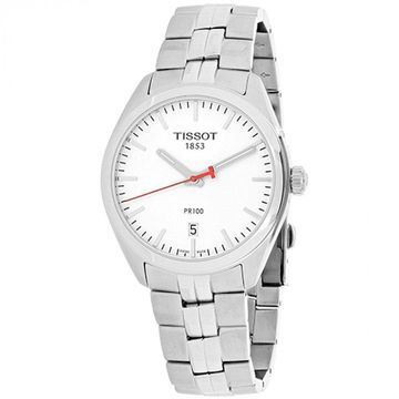 Tissot Men's T1014101103101 'PR 100' Silver Dial Stainless Steel NBA Special Edition Swiss Quartz Watch