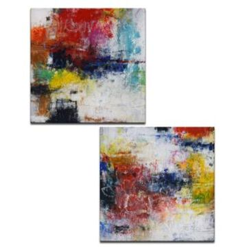 "Ready2HangArt, 'Red Breeze I/Ii' 2 Piece Abstract Canvas Wall Art Set, 30x30"""