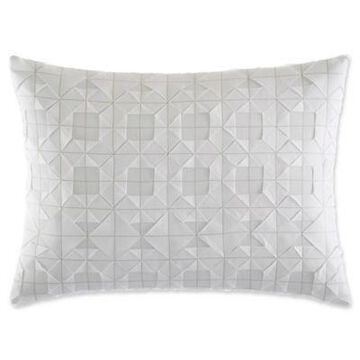 Vera Wang Tuille Floral Origami Stitching Oblong Throw Pillow in White