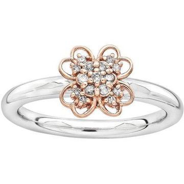 Diamond Sterling Silver and 14kt Rose Gold-Plated Flower Ring