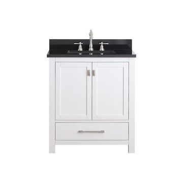 Avanity Modero 31-in White Single Sink Bathroom Vanity with Black Granite Top