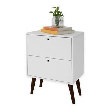 Manhattan Comfort Taby End Table in White/Brown