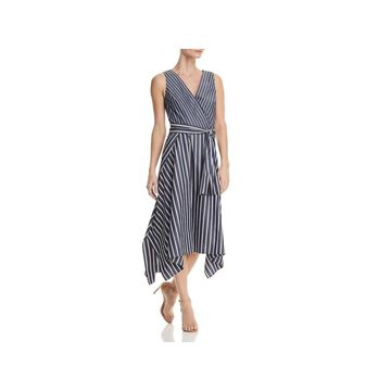 Lafayette 148 New York Womens Demetria Midi Dress Striped Sleeveless