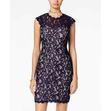 Juniors' Cap-Sleeve Sequined Lace Dress