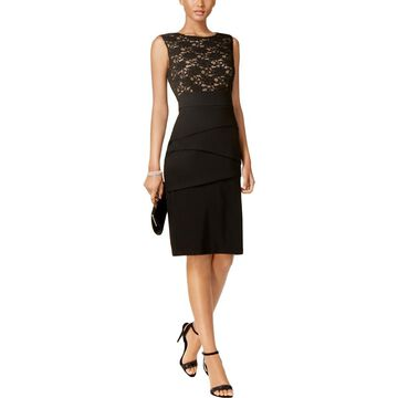 Connected Apparel Womens Sequined Lace Cocktail Dress