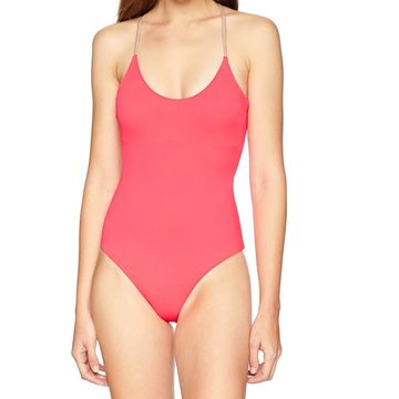 Billabong Pink Womens Size Large L Lace-Up Back One-Piece Swimsuit