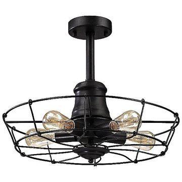 ELK Lighting Glendora Semi Flushmount Light - Color: Black - 14259/5