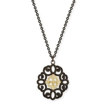 Old World Filigree Pendant Necklace with Diamonds & Black Sapphires