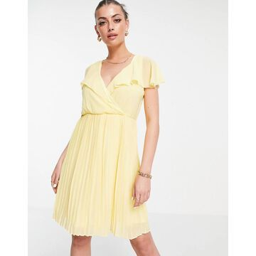 Vila recycled blend pleated mini dress with frill collar in yellow