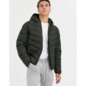 New Look puffer jacket in khaki-Green