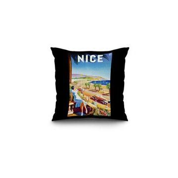 Nice - PLM Vintage Poster (artist: D'Hey) France c. 1947 (16x16 Spun Polyester Pillow, Black Border)