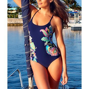 Anne Cole Women's One Piece Swimsuits MULT - Navy & Green Paisley Lace-Up One-Piece - Women