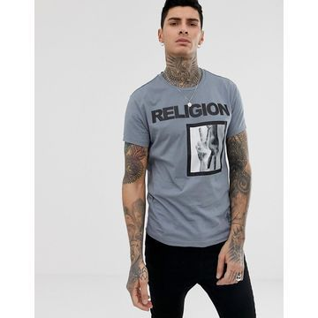 Religion t-shirt with victory patch print in gray