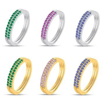 Divina 14KT Gold Created Gemstone Dual Wedding Band