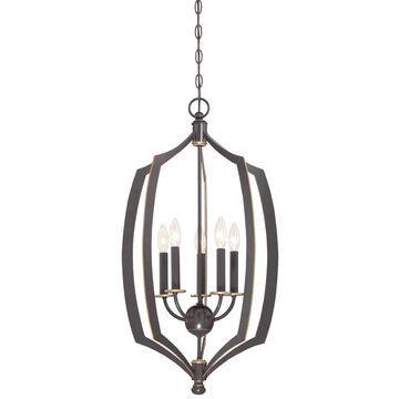 Minka Lavery Middletown Downton Bronze with Gold Highlights Transitional Lantern Medium (10-22-in) Pendant Light | 4373-579
