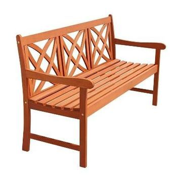 Vifah Star 5-Feet Outdoor Wood Bench - Brown