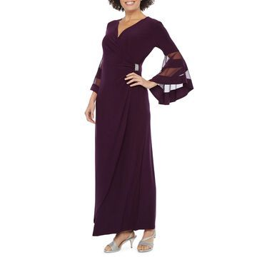 R & M Richards 3/4 Bell Sleeve Evening Gown