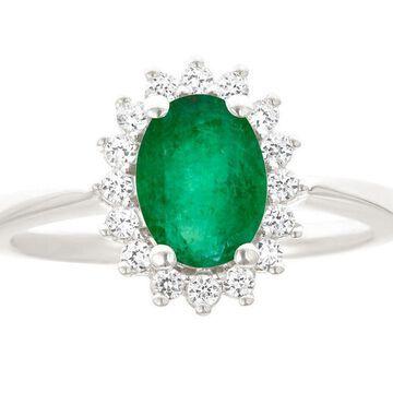 Premier 9/10cttw Oval Emerald & Diamond Ring, 14K