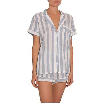 Eberjey Umbrella Stripes Woven Short PJ (Skye Blue/Cloud) Women's Pajama Sets
