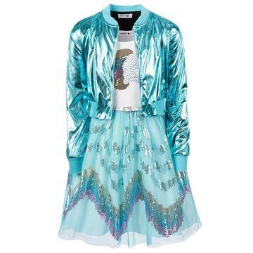 Big Girls 2-Pc. Metallic Bomber Jacket & Unicorn Dress Set