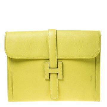 Hermes Kiwi Epsom Leather Jige GM Clutch