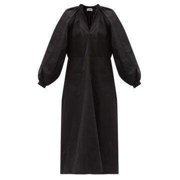Jil Sander - Balloon-sleeve Cotton-poplin Midi Dress - Womens - Black