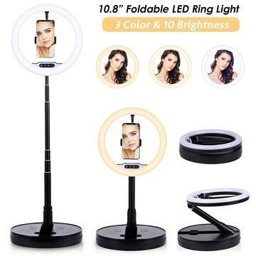 10.8-inch Studio Ring Light (128 LEDs) - Portable Folding Design - Max Height 5.4ft - USB powered