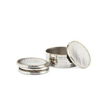 Hammered Coasters with Holder, Set of 4