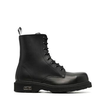 Bolt leather combat boots