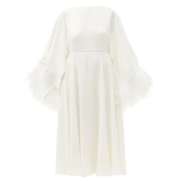 Valentino - Feather-trimmed Silk-georgette Midi Dress - Womens - Ivory