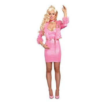 Dreamgirl Women's Sparkly Pink Beauty-Licious Blonde Doll Costume Dress