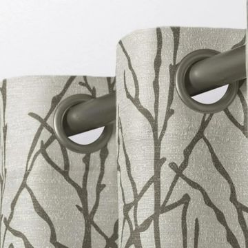 ATI Home Branches Linen Blend Grommet Top Curtain Panel Pair