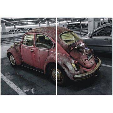 "Furinno Seni Retro Car 2-Panel Triptych Print, 40"" x 27.5"""