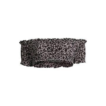 Norma Kamali Jose Floral-Print Off-the-Shoulder Shirred Crop Top