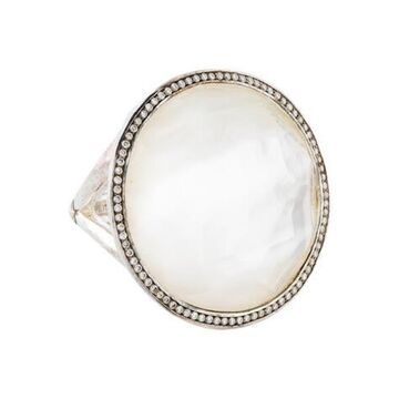 Mother of Pearl Doublet & Diamond Ring silver