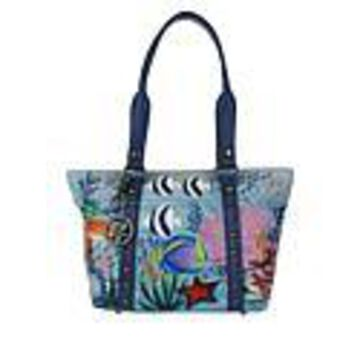 Anuschka Hand-Painted Leather Studded Shopper Tote - Treasures of Reef