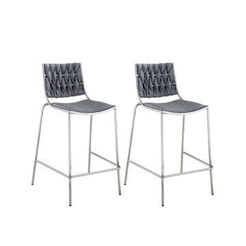 Chintaly Taylor Stackable Counter Stool with Weave Back, Set of 2