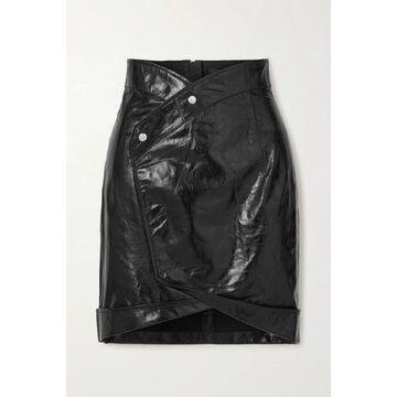 RtA - Paloma Crinkled Glossed-leather Wrap Mini Skirt - Black