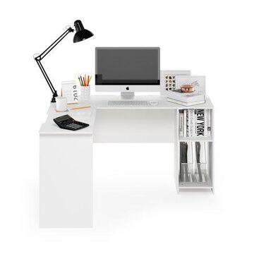 Furinno Indo L-Shaped Desk with Bookshelves, White
