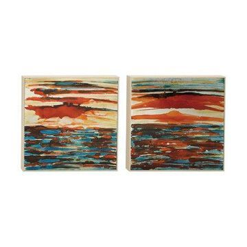 Decmode Set of 2 Modern 20 Inch Seascape Canvas Art, Red