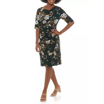 Connected Apparel Women's 3/4 Sleeve Floral Dress -