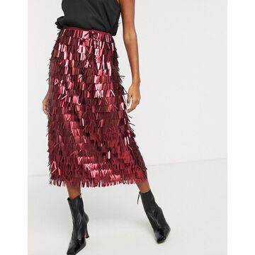 Lost Ink high waist midi skirt in all over sequin-Red