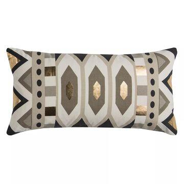 Rizzy Home Rachel Kate Geometric IV Foil Printed Oblong Throw Pillow