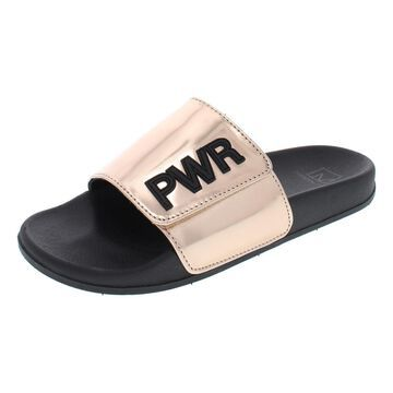 Material Girl Womens Paige Mirrored Flat Pool Slides