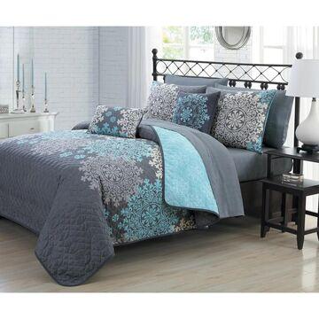 Avondale Manor Amber 9pc Quilt Set (Grey/Blush - King)