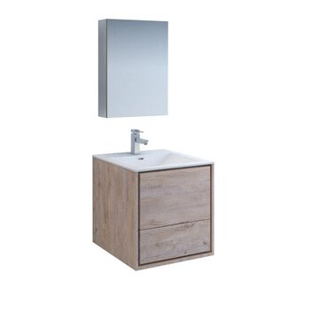 Fresca Senza 24-in Rustic Natural Wood Single Sink Bathroom Vanity with White Acrylic Top (Faucet Included) in Brown | FVN9224RNW