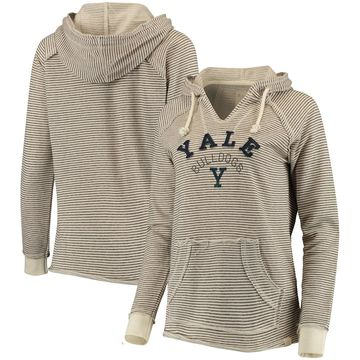 Yale Bulldogs Blue 84 Women's Striped French Terry V-Neck Hoodie Cream