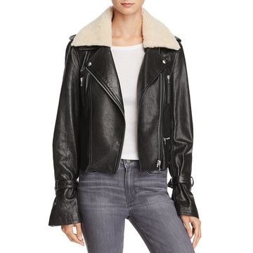 Paige Womens Rhoda Leather Shearling Motorcycle Jacket