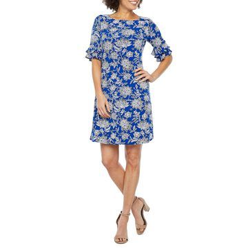 Ronni Nicole Short Tiered Sleeve Floral Puff Print Shift Dress-Petite