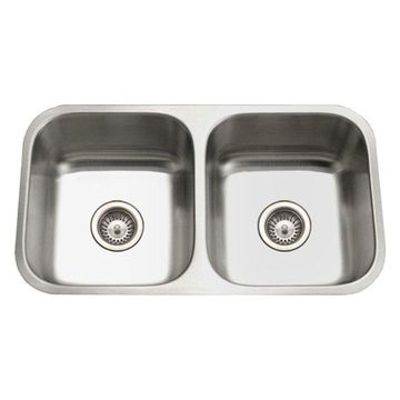 Houzer STD-2100-1 Eston Stainless Steel 50/50 Double Bowl Kitchen Sink